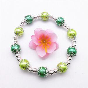 Jewelry - Silver Green Pearl Stretch Bead Bracelet 10mm